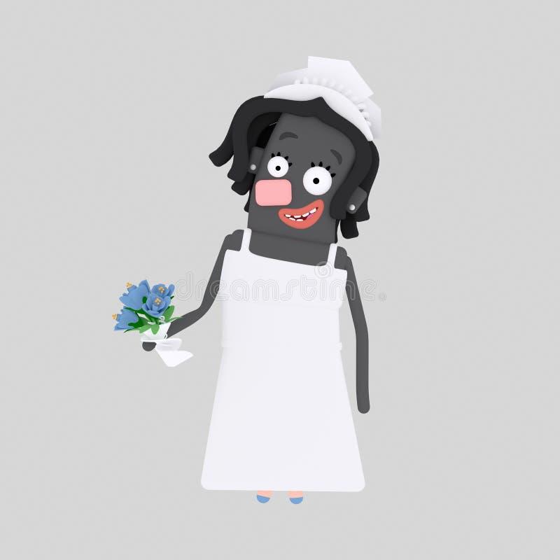 Novia negra 3d ilustración del vector