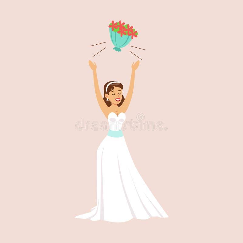 Novia que lanza su ramo nupcial en la escena del banquete de boda libre illustration