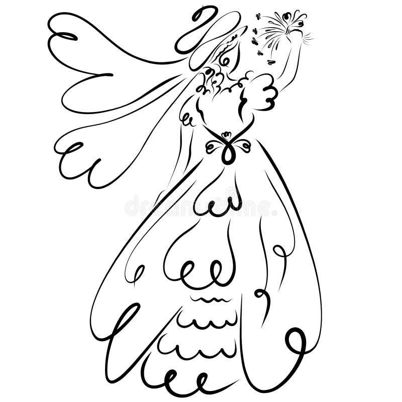 Novia que lanza un ramo o que agita adiós libre illustration