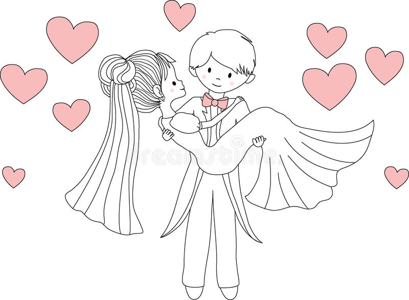 Novia que lleva del novio en sus brazos Ilustración del vector ilustración del vector