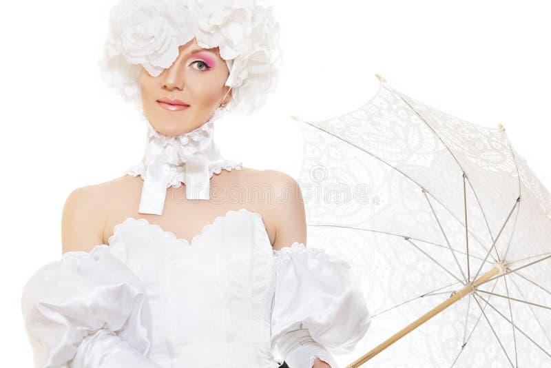 Novia retra de la señora, traje mágico del carnaval de víspera de Todos los Santos fotos de archivo libres de regalías