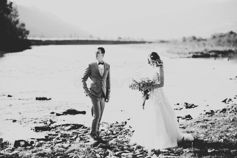 Novia rubia feliz elegante elegante y novio magnífico en el fondo de un río hermoso en las montañas imágenes de archivo libres de regalías