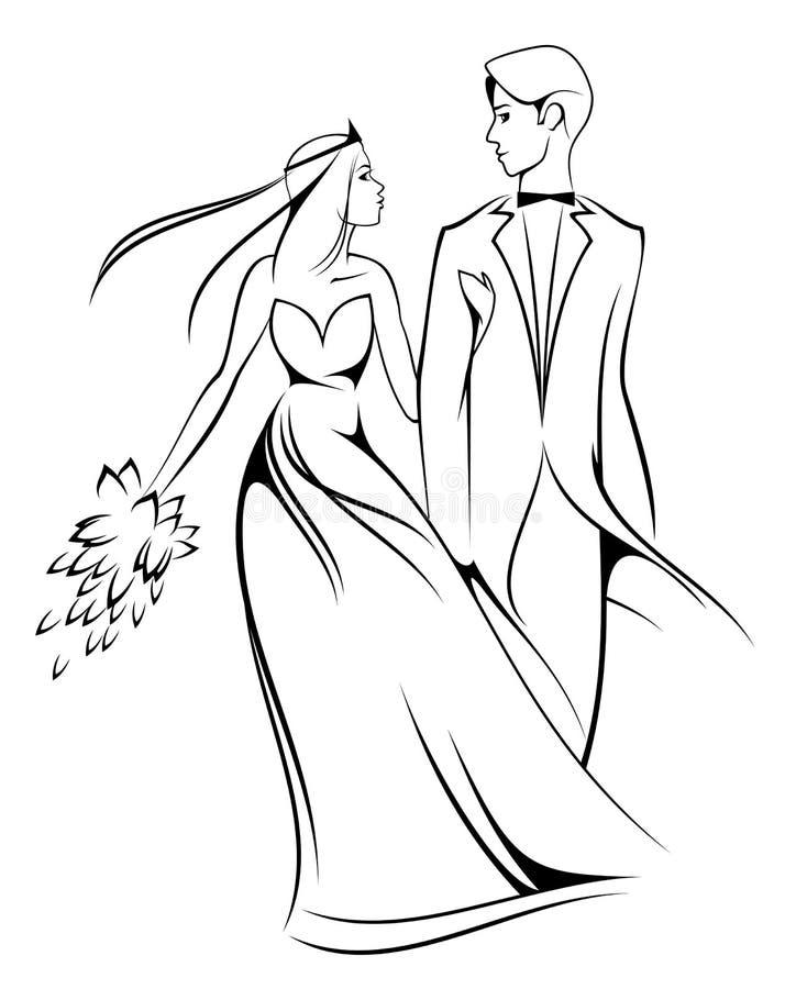 Novia y novio stock de ilustración