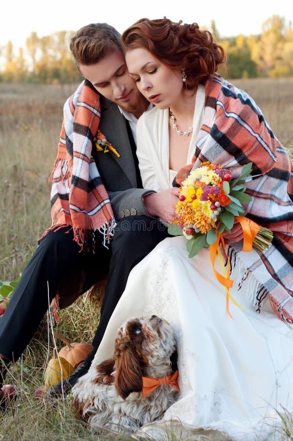 Novia y novio así como su pequeño perro Otoño romántico fotos de archivo libres de regalías
