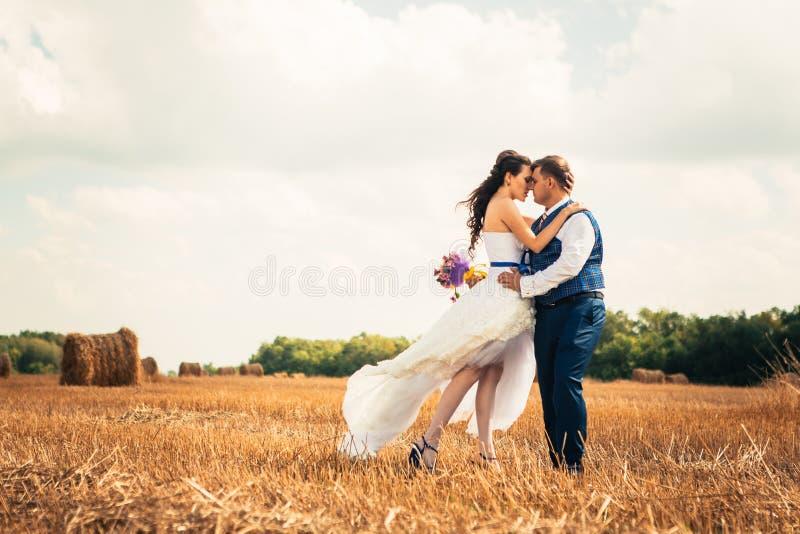 Novia y novio cerca del heno en un campo rural imagen de archivo