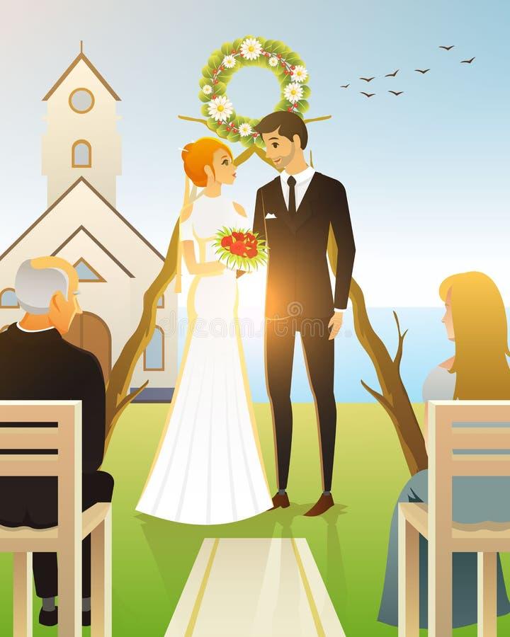 Novia y novio Ceremonia de boda en la playa por el mar Recienes casados, pares en la puerta de la iglesia Tarjeta del ejemplo del stock de ilustración