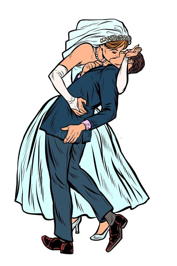 Novia y novio, ceremonia del beso de boda mujer y hombre feministas libre illustration