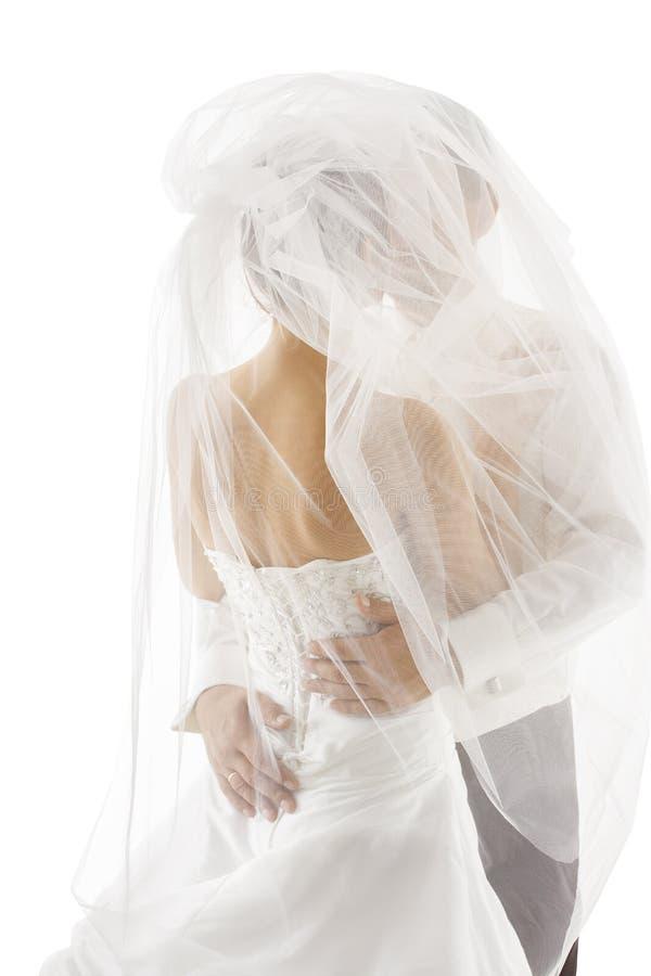Novia y novio Covered Veil, casandose pares besándose, parte posterior trasera imagen de archivo libre de regalías