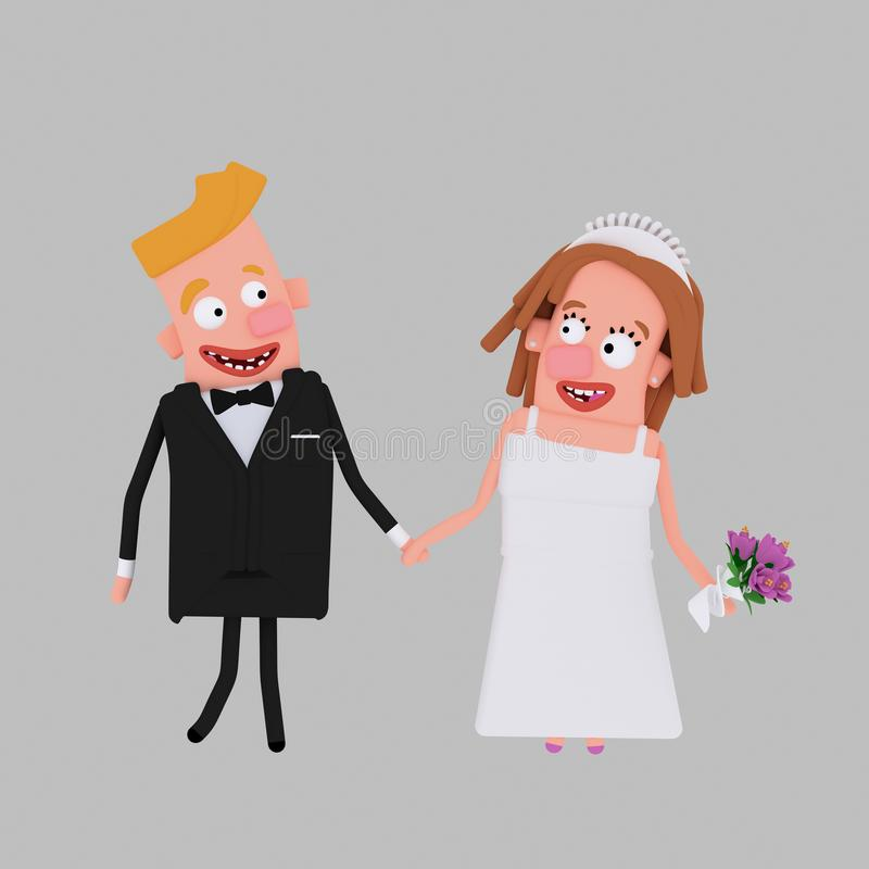 Novia y novio 3d stock de ilustración