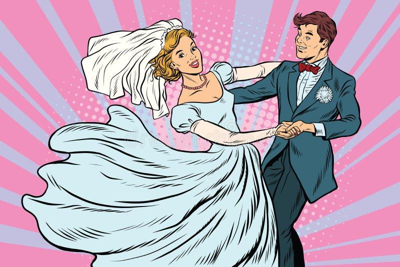 Novia y novio de la danza que se casan stock de ilustración