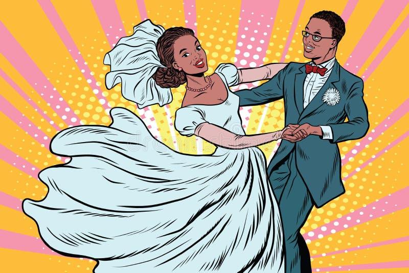 Novia y novio de la danza que se casan ilustración del vector