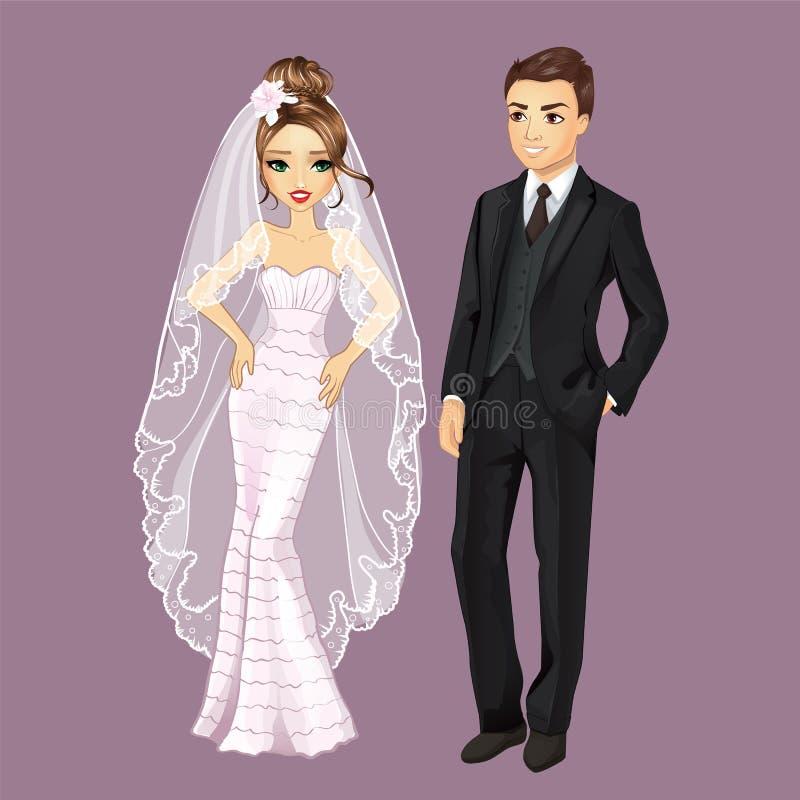 Novia y novio de la moda stock de ilustración