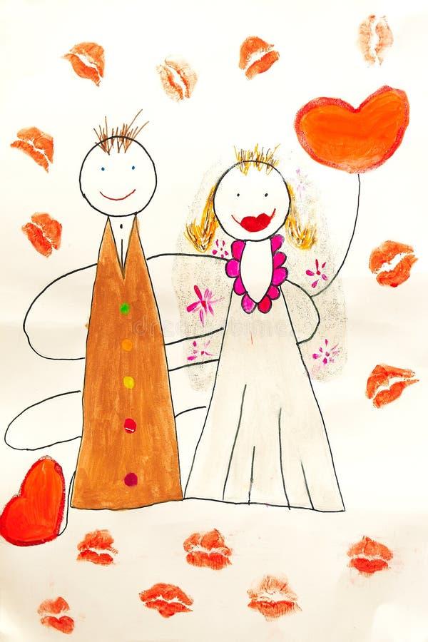 Novia y novio del cuadro del niño ilustración del vector