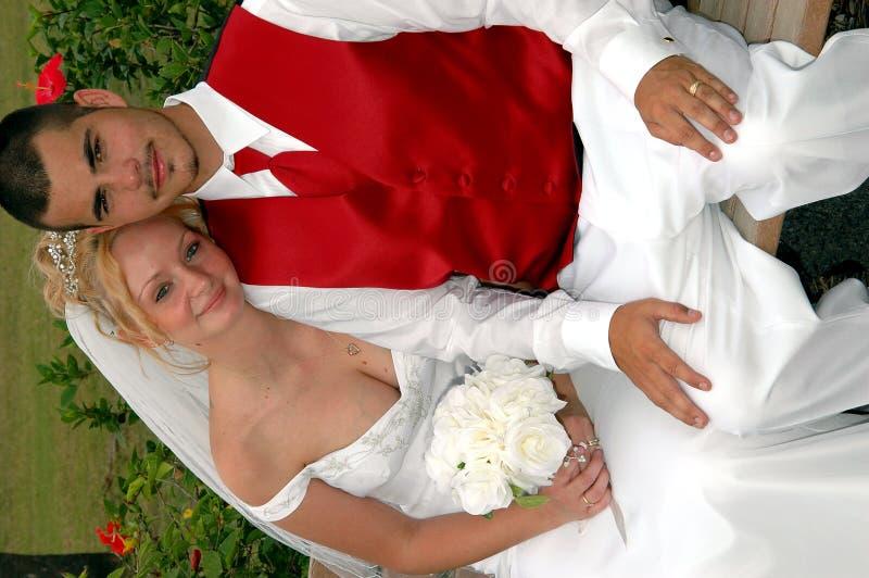 Novia y novio en banco de parque fotografía de archivo libre de regalías