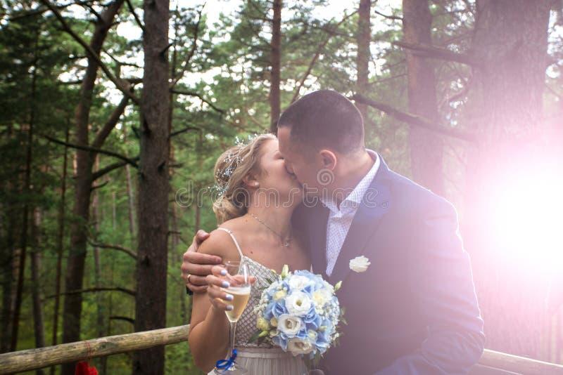 Novia y novio en el día de boda imagenes de archivo