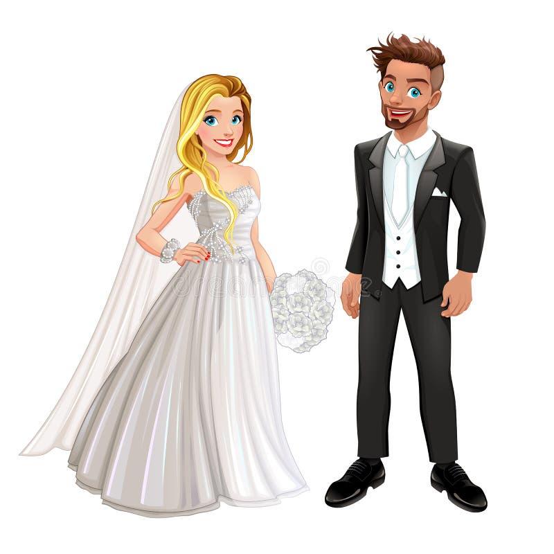 Novia y novio en el día de boda stock de ilustración