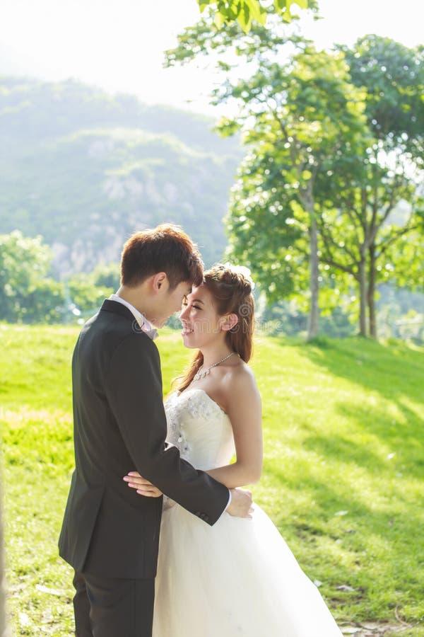 Novia y novio en el parque foto de archivo libre de regalías