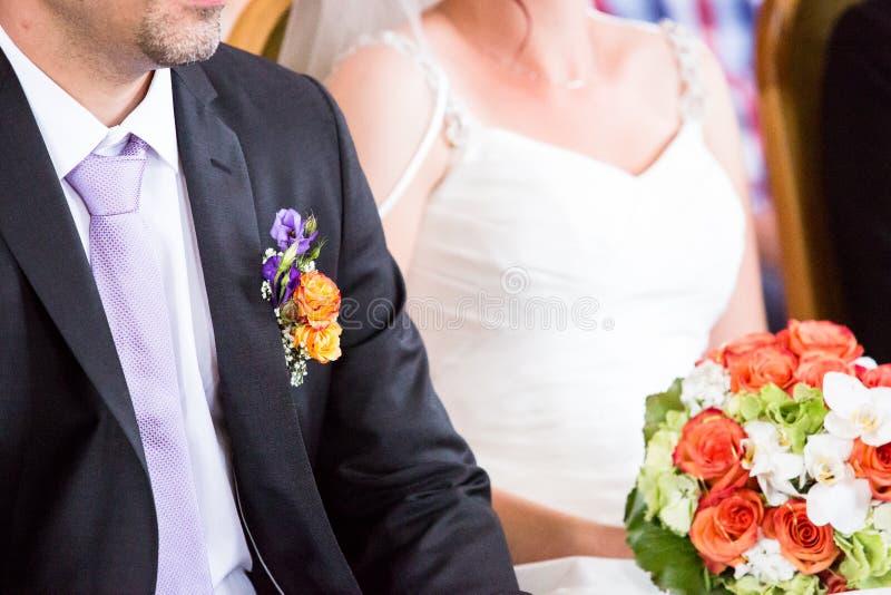 Novia y novio en la boda fotos de archivo libres de regalías