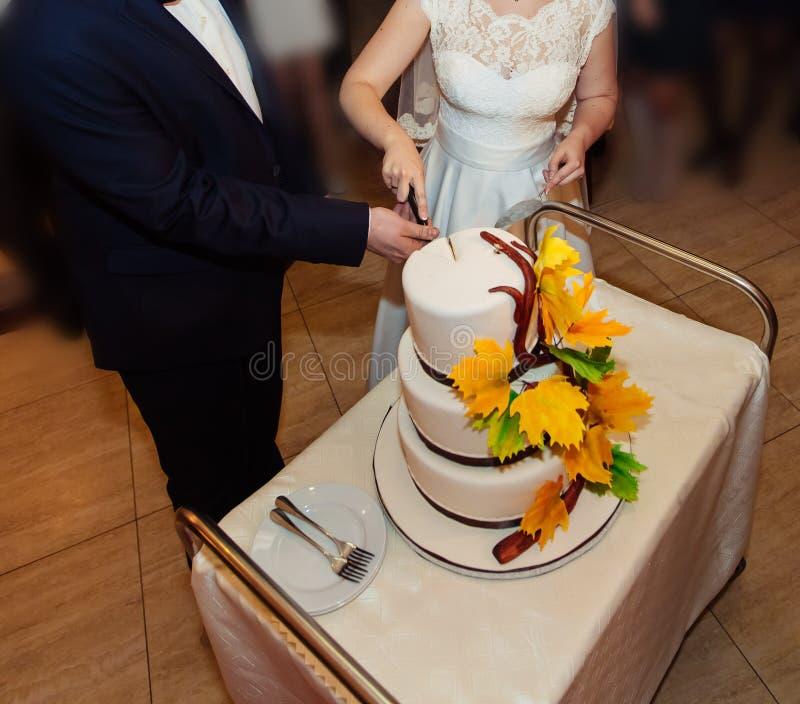 Novia y novio en la recepción nupcial que corta el pastel de bodas foto de archivo libre de regalías