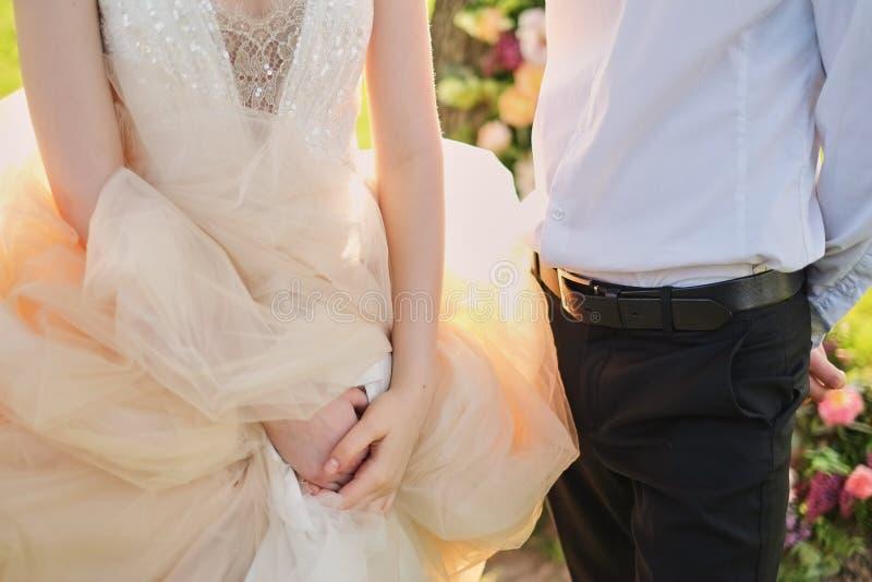 Novia y novio en los recienes casados jovenes novia del parque de un par de la boda y novio en una boda en parque del verde de la fotos de archivo