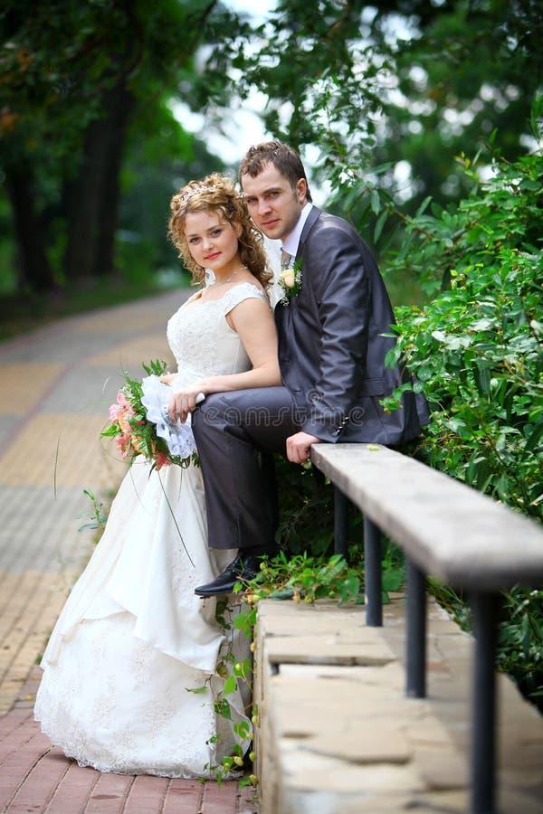 Novia y novio en parque imagen de archivo