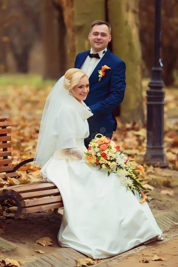 Novia y novio en un parque fotografía de archivo libre de regalías