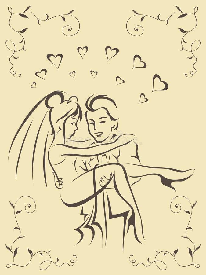 Novia y novio felices libre illustration