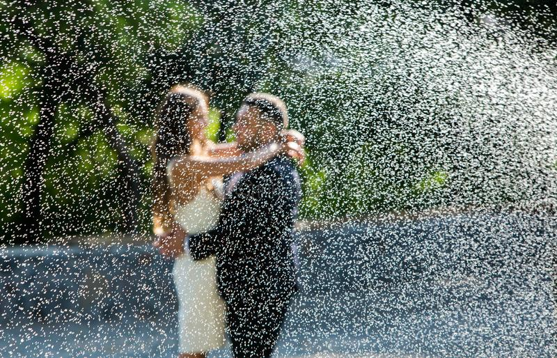Novia y novio felices Pareja casada alegre Apenas pareja casada abrazada Pares de la boda fotos de archivo libres de regalías