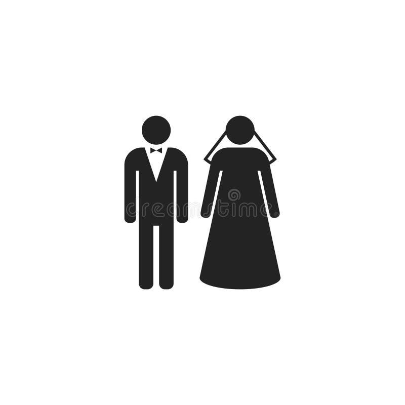 Novia y novio Glyph Vector Icon, símbolo o logotipo stock de ilustración
