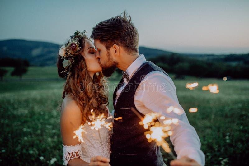 Novia y novio hermosos con las bengalas en un prado foto de archivo libre de regalías