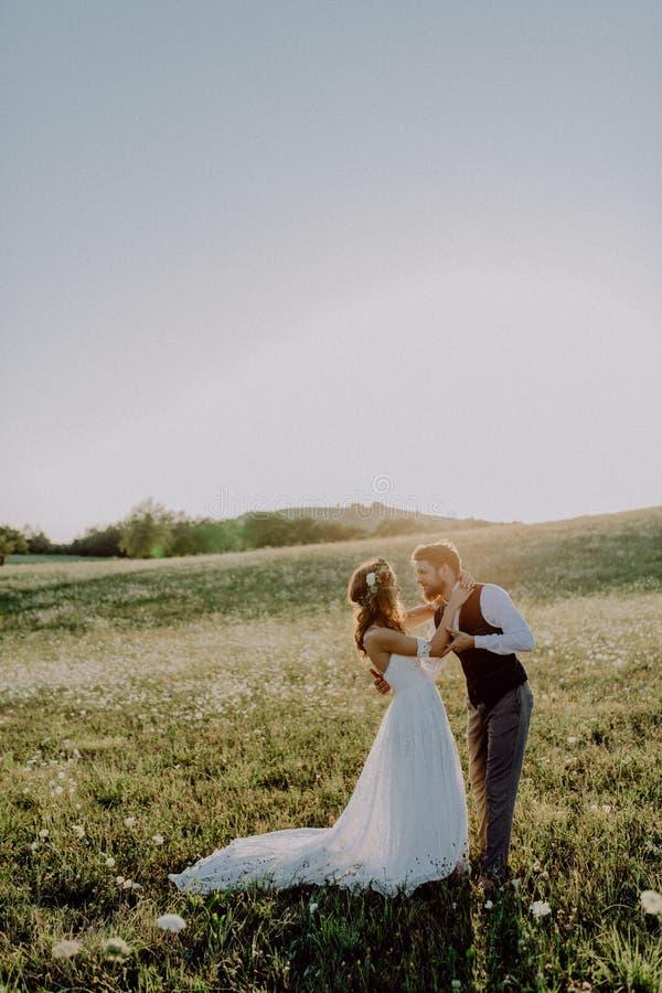 Novia y novio hermosos en la puesta del sol en naturaleza verde fotografía de archivo libre de regalías