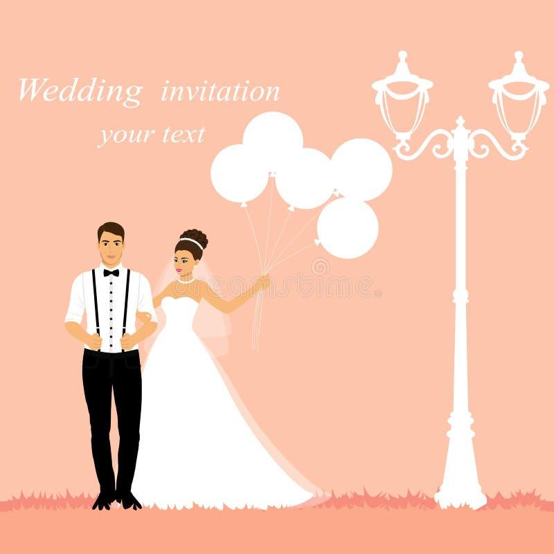 Novia y novio Invitación de boda con los recienes casados con los globos stock de ilustración