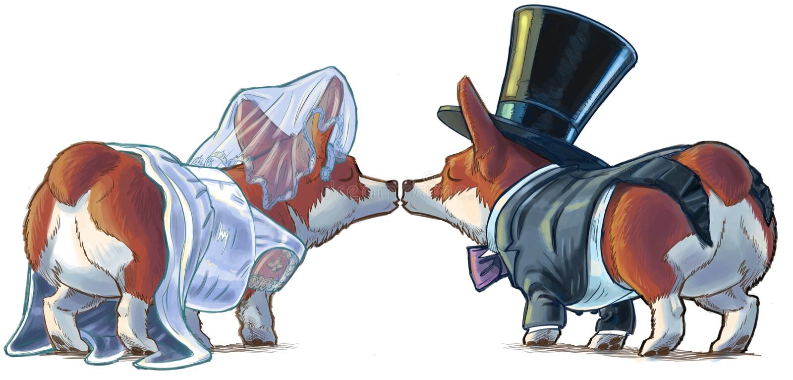 Novia y novio Kissing Cartoon Illustration del Corgi ilustración del vector