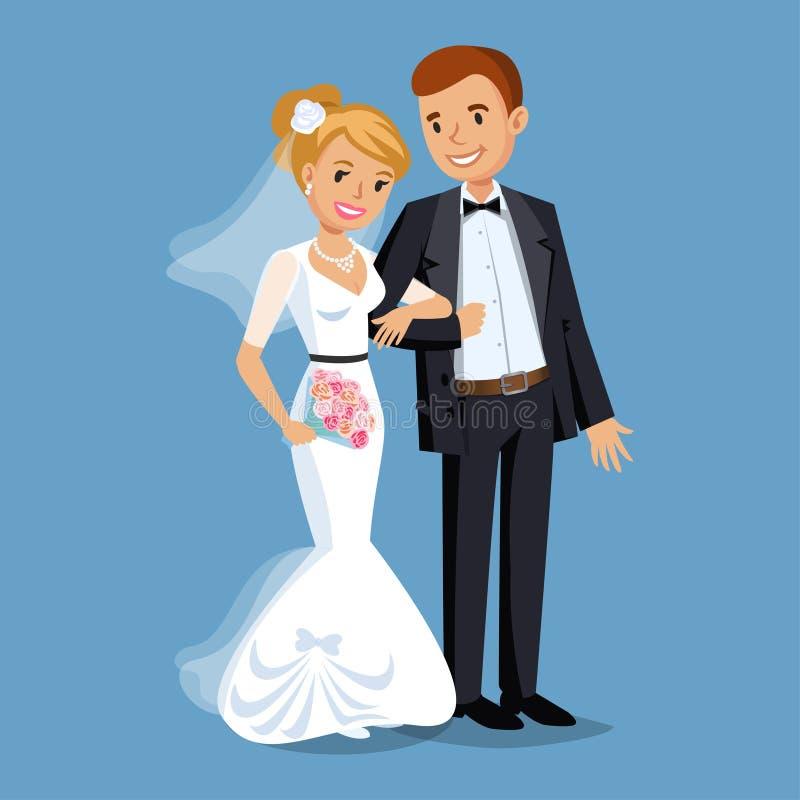 Novia y novio lindos, ejemplo determinado del banquete de boda stock de ilustración