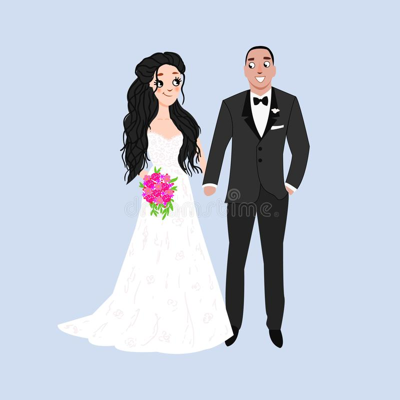 Novia y novio Pareja Invitación de boda con los recienes casados Objetos aislados Ilustración del vector stock de ilustración