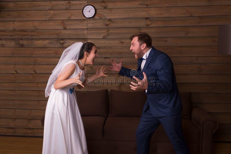 Novia y novio que gritan en uno a imagen de archivo libre de regalías