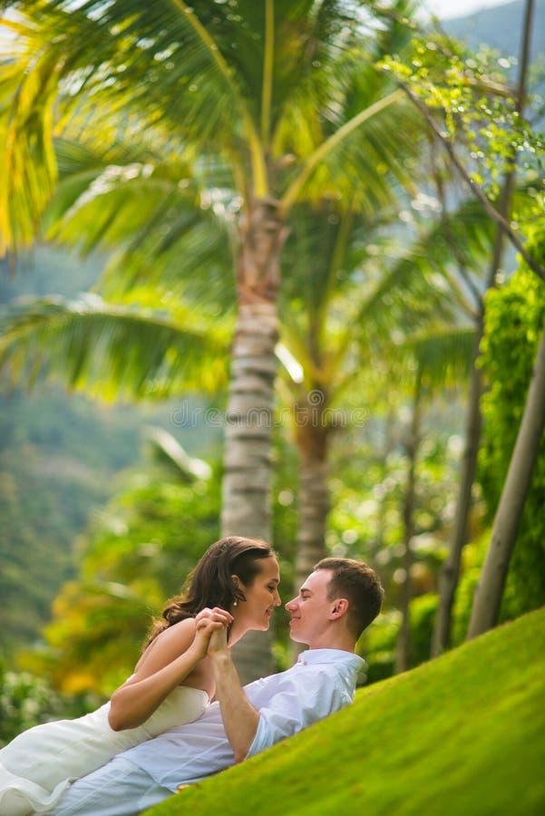 Novia y novio que juegan en la hierba verde contra las palmeras en el verano fotografía de archivo