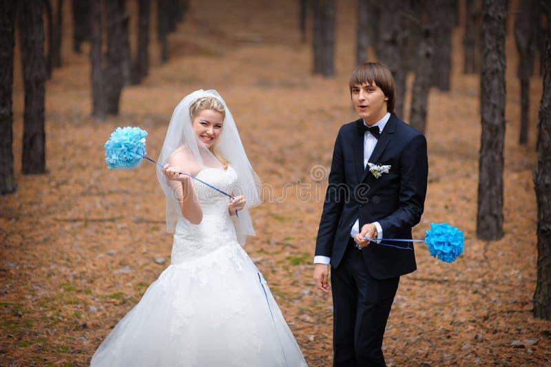 Novia y novio que se colocan en un bosque del pino en otoño fotos de archivo libres de regalías