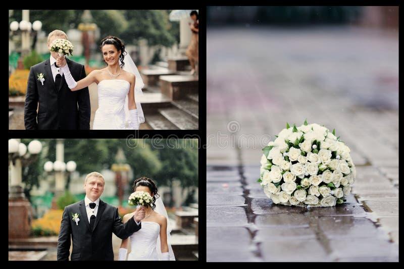 Novia y novio que tienen un momento romántico foto de archivo