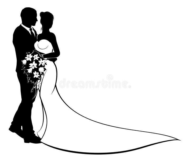 Novia y novio Silhouette de la boda stock de ilustración