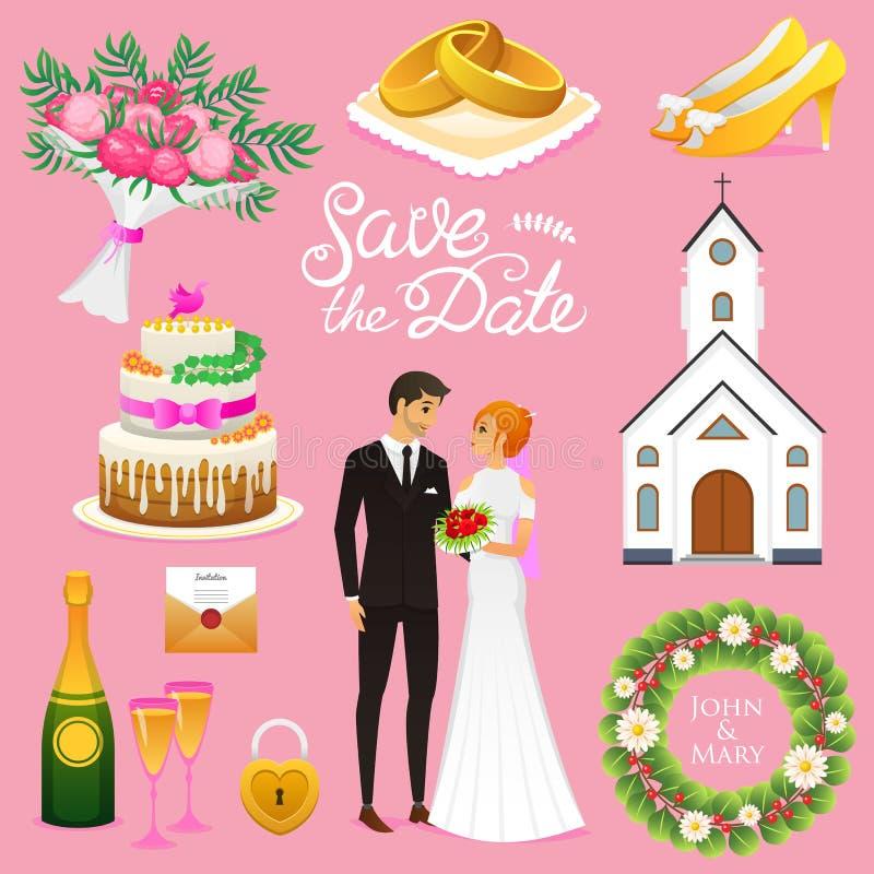 Novia y novio Sistema de la ceremonia de boda Iconos de los recienes casados Ilustración del vector Pareja casada, verano Torta r stock de ilustración