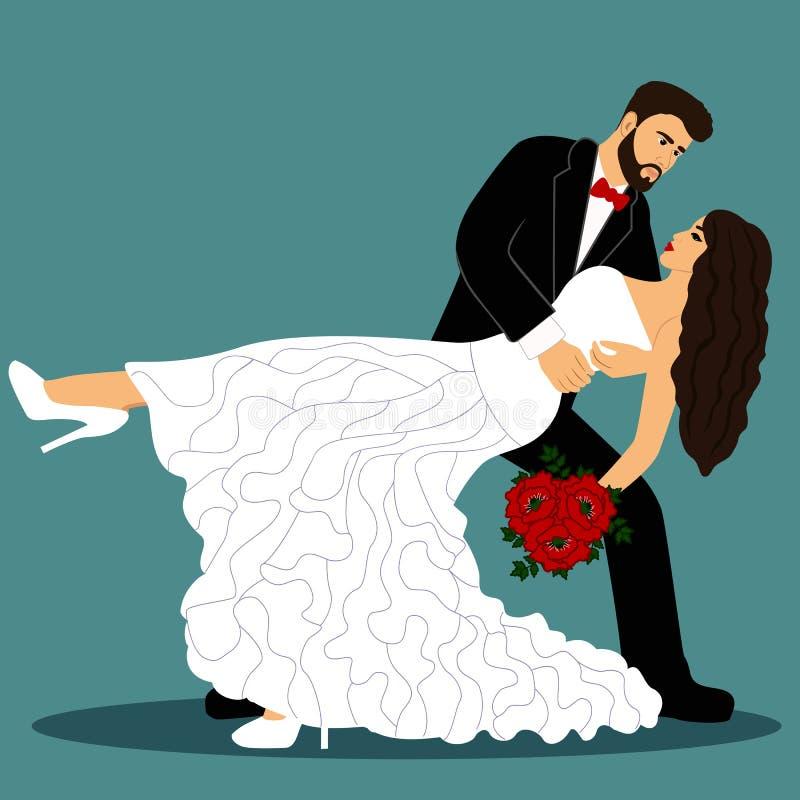 Novia y novio Un par está bailando Invitaci?n de boda con los recienes casados stock de ilustración
