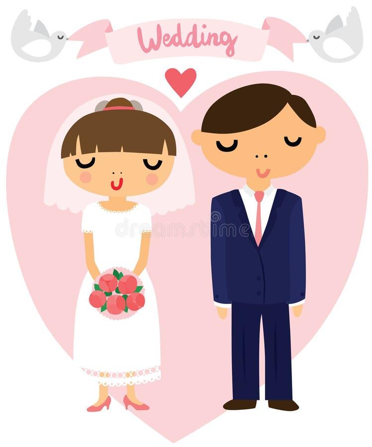 Novia y novio Wedding Picture ilustración del vector