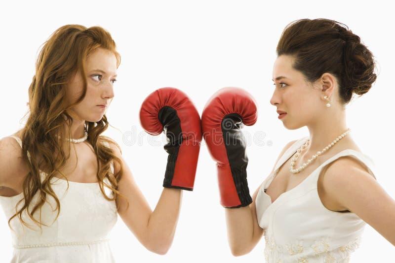 Novias con los guantes de boxeo. fotografía de archivo
