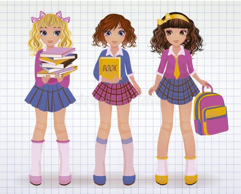 Novias de la escuela con los libros stock de ilustración