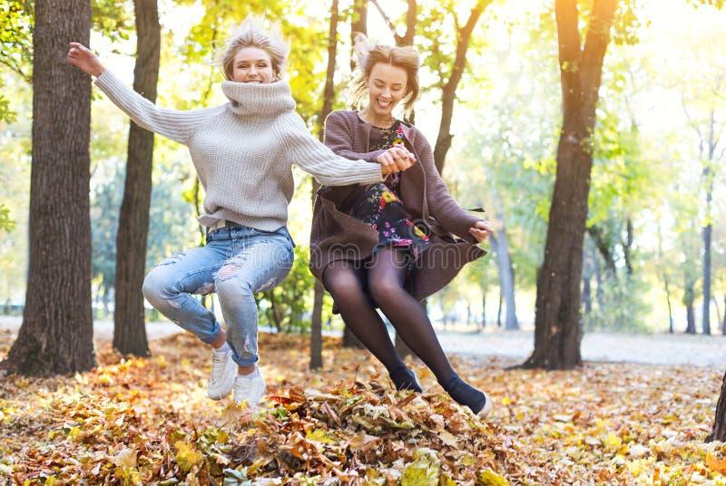 Novias jovenes hermosas de moda que caminan junto en el fondo del parque del oto?o Divertirse y presentaci?n fotografía de archivo libre de regalías