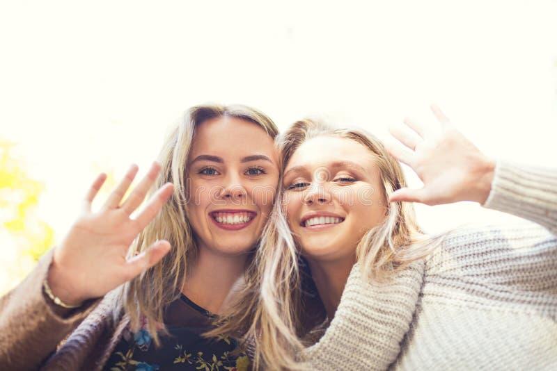 Novias jovenes hermosas de moda que caminan junto en el fondo del parque del oto?o Divertirse y presentaci?n foto de archivo libre de regalías