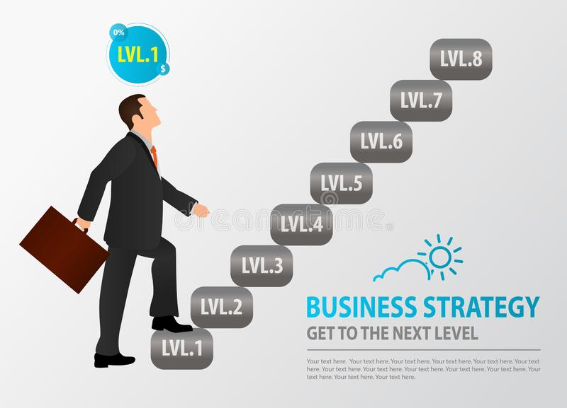 Novice businessman starts to climb the stairs. Concept of Business Strategy, Wealth-Building Business, Growth, balance, success, t stock illustration