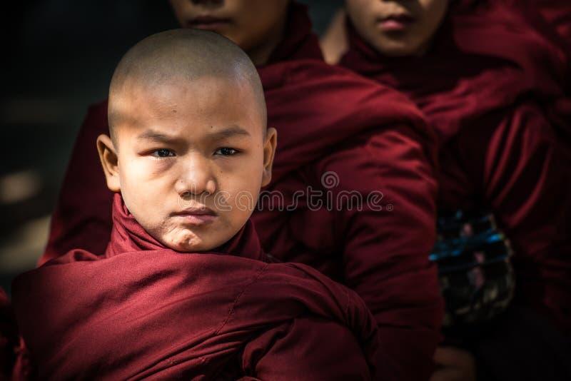 Novice de Myanmar dans le monastère de Mahagandayon d'Amarapura la vieille capitale de Myanmar photographie stock
