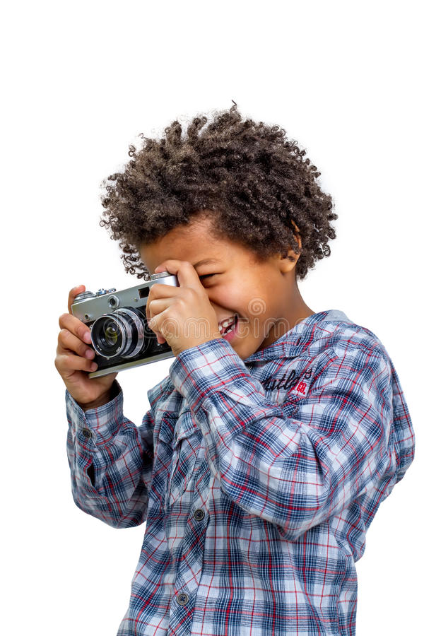 Novice photographer. With enthusiasm shoot on the camera stock images